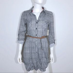 Passport Tunic Shirt Small Houndstooth Belted NWT
